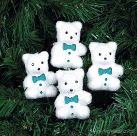 Vánoční ozdoba - medvídek s motýlkem (4ks)