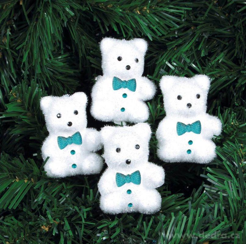 Vánoční ozdoba - medvídek s motýlkem (4ks) Dedra