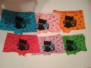 Dívčí spodní kalhotky s nohavičkou černá kočka, vel. 9-11let Elevek
