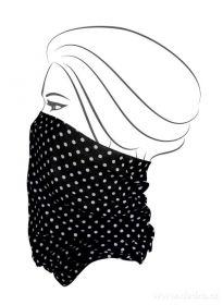 Multifunkční šátek nejen na sport - černý s bílým puntíkem