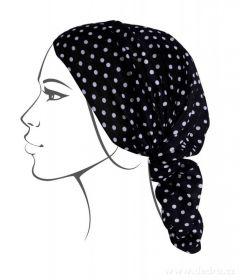Multifunkční šátek nejen na sport -černý s bílým puntíkem Dedra