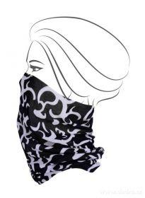 Multifunkční šátek nejen na sport - černý s ornamenty