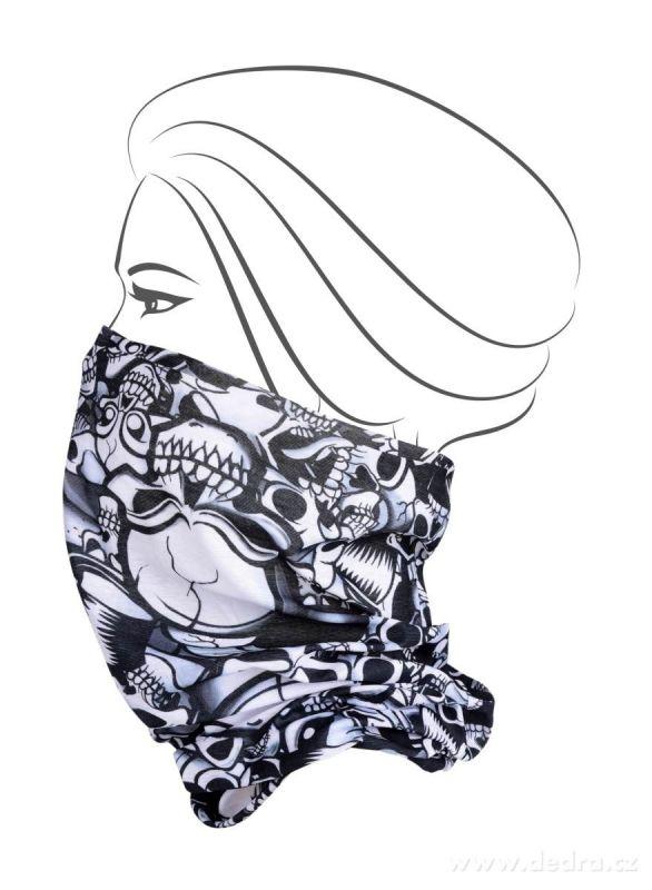 Multifunkční šátek nejen na sport - lebky Dedra