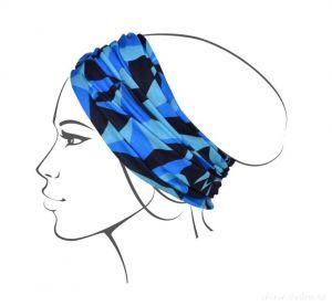 Multifunkční šátek nejen na sport - modré origami