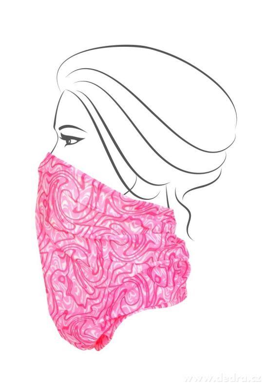 Multifunkční šátek nejen na sport - růžové ornamenty Dedra