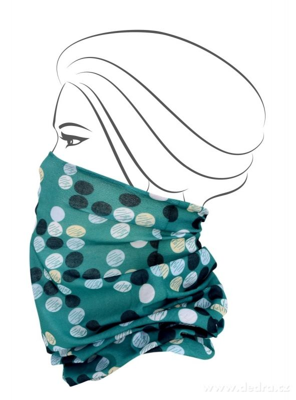 Multifunkční šátek nejen na sport - zelený s puntíky Dedra
