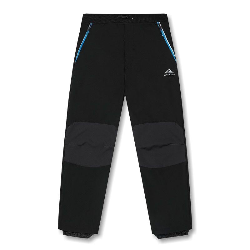 Softshellové kalhoty zateplené Kugo černé (sv. modré zipy)