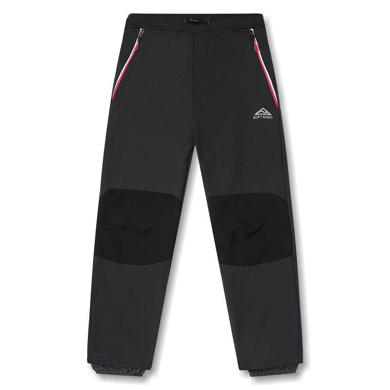 Softshellové kalhoty zateplené Kugo šedé (růžové zipy)