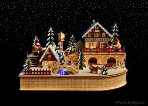 Vánoční dekorace - zimní městečko s jezdícím vláčkem