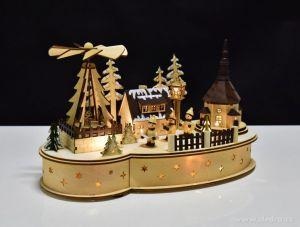 Vánoční dekorace - zimní vesnička s kolotočem