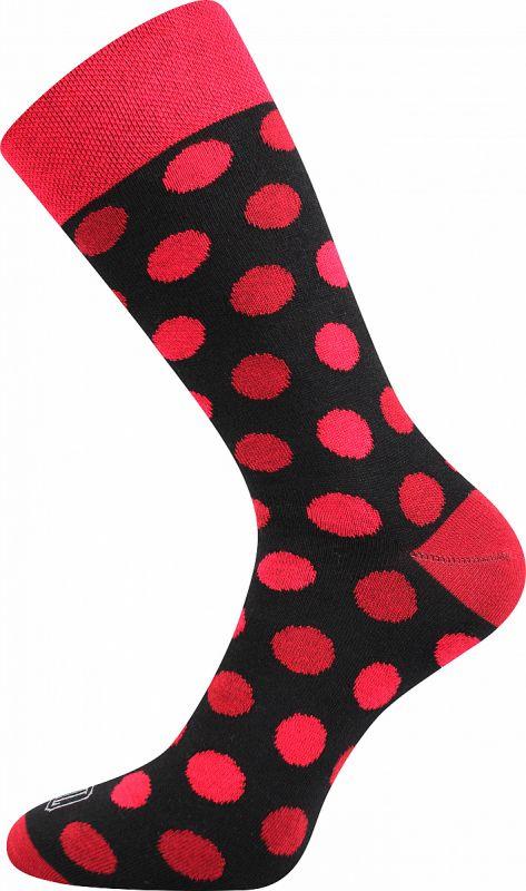 Veselé ponožky PUNTÍKY červené Lonka