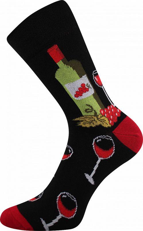 Veselé ponožky VÍNOXX červená pata Lonka