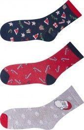 Veselé vánoční ponožky dámské i pánské sada 3 páry