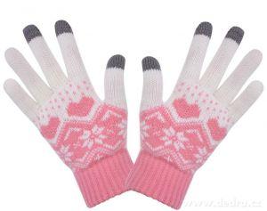 Zimní pletené prstové rukavice dotykové růžové