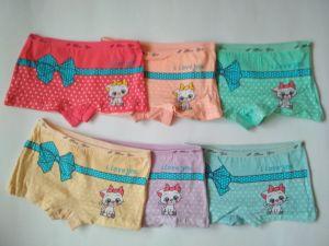 Dívčí spodní kalhotky s nohavičkou kočka s mašlí vel. 4-5let