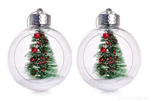 Vánoční ozdoba - koule s vnitřní dekorací 2ks stromeček