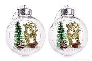 Vánoční ozdoba - koule s vnitřní dekorací 2ks jelen