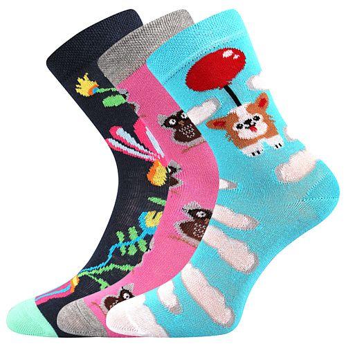 Veselé dívčí ponožky ZVÍŘÁTKA I. Boma - 3 páry