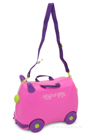 Veselý auto-kufr pro děti - fuchsiový