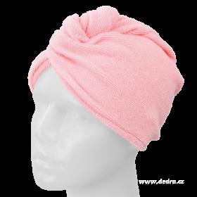 Turban na vysoušení vlasů - růžový