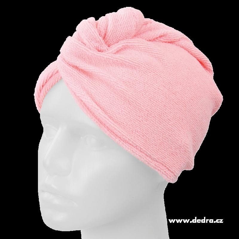 Turban na vysoušení vlasů - růžový Dedra