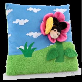 Plyšový polštář s 3D dekorací květinka s včelkou 30 x 30 x 6 cm