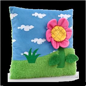Plyšový polštář s 3D dekorací květinka s včelkou 30 x 30 x 6 cm Dedra
