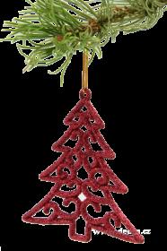 Vánoční ozdoba - stromek krajkového vzhledu (6ks) - červená Dedra