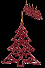 Vánoční ozdoba - stromek krajkového vzhledu (6ks) - červená
